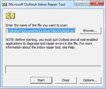 scanpst.exe outlook 2007
