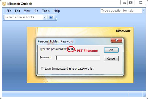 Recuperação de senha do Outlook 2007 pst