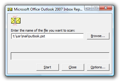 scan pst outlook 2007