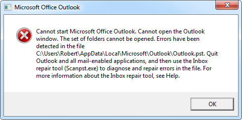 scanpst fails in Outlook 2010