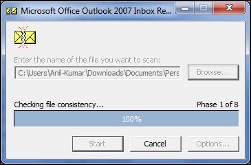 scanpst not responding in Outlook 2007