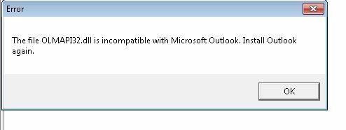 لن يعمل Outlook Olmapi32.Dll