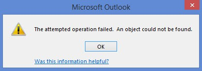 The attempted operation failed error