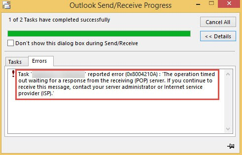 Outlook Error code 0x8004210a While Sending or Receiving an Email Message