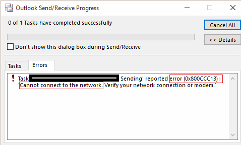 0x800CCC13 cannot connect to the network