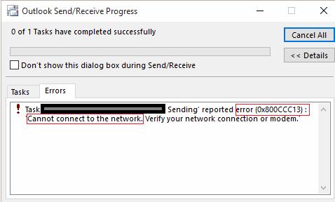 لا يمكن لـ 0x800CCC13 الاتصال بالشبكة