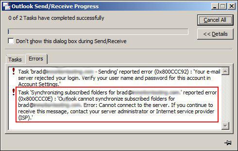 إصلاح Outlook Error Code 0x800CCC0E