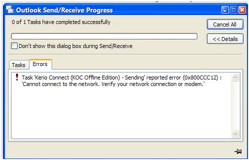 Fix Outlook Error Code 0x800CCC12