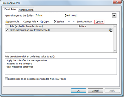 Recover Outlook Rules and Alerts