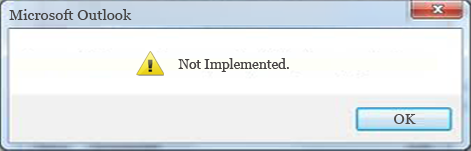 not implemented error in outlook