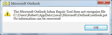 Inbox Repair Tool does not recognize the outlook.pst