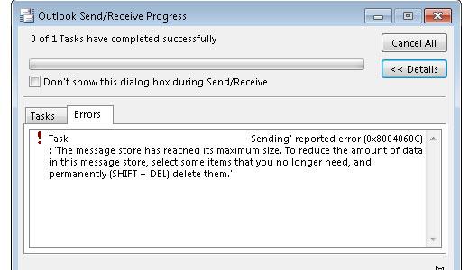 إصلاح غير معروف خطأ 0x8004060C
