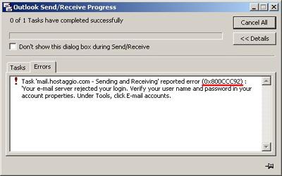 Beheben Sie den MS Outlook-Fehler 0x800ccc92