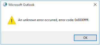 Fix Outlook Unknown Error Code 0x8000ffff