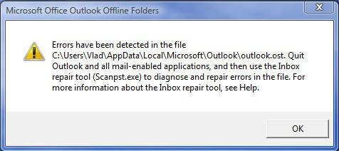 Correction des erreurs Outlook 2010 détectées dans un fichier OST