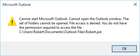 Resolve Outlook 2010 Cannot Open PST File Access Denied Error