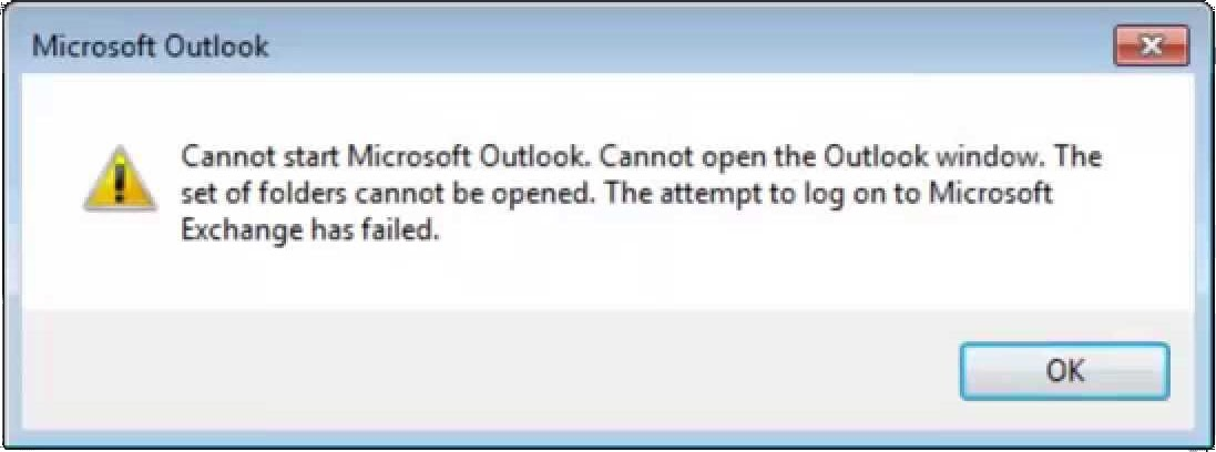 غير قادر على عرض مجلد Outlook الشخصي