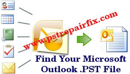 ابحث عن ملف .PST الخاص ببرنامج Microsoft Outlook