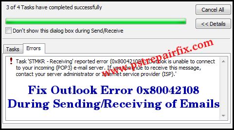 إصلاح خطأ Outlook 0x80042108 أثناء إرسال / تلقي رسائل البريد الإلكتروني