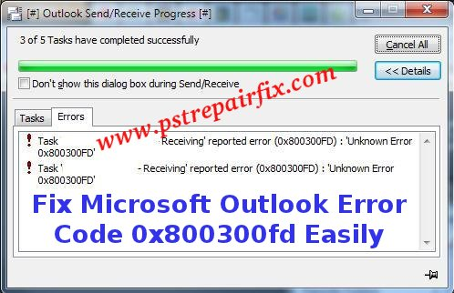 microsoft outlook error code 0x800300fd